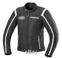 IXS Men's Motorcycle Leather Jacket Shawn black beige Vintage in Used Look