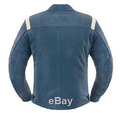 IXS Shawn Men's Motorcycle Leather Jacket blue-beige Vintage im Used Look