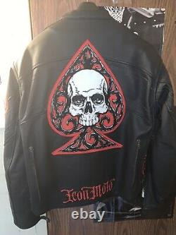 Icon DMH Daytona Mens Leather Motorcycle Jacket L Field Armor Impact Protector