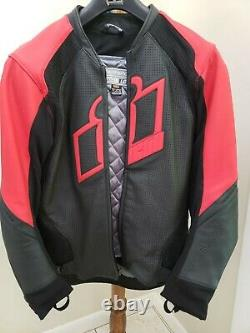 Icon Hypersport Leather Jacket, Red, Large, Used Like-New, Full D3O Armor