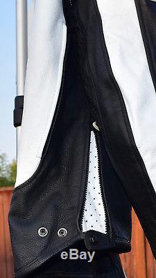Icon Motorhead Black White Leather Motorcycle Jacket Mens XL 46-48 Asphalt Tech
