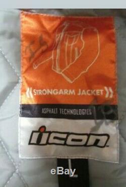 Icon Motorsports Strongarm Used Rugged Leather Denim Biker Large Jacket Full Zip