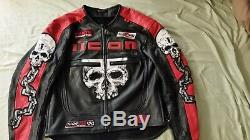 Icon Skull Leather Motorcycle Jacket (xl)