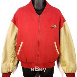 Indian Motorcycle Jacket Vintage Wool Leather Varsity Made In USA Size Large