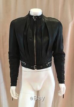 JEAN PAUL GAULTIER Men's Black Top Grain Cow Leather Motorcycle Jacket RARE
