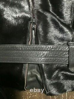 JEAN PAUL GAULTIER Vintage 80's Pony Skin Leather Motorcycle Jacket Sz L Rare