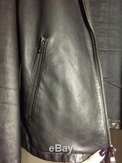 JOHN VARVATOS Black Lambskin Leather Zipper Motorcycle Jacket Sz 48