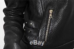 J BRAND Classic Black Lambskin Leather Biker Moto Motorcycle Jacket Coat XS