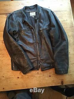 J CREW Leather Stockton Racer Jacket Distressed Black L $895.00 new Rare