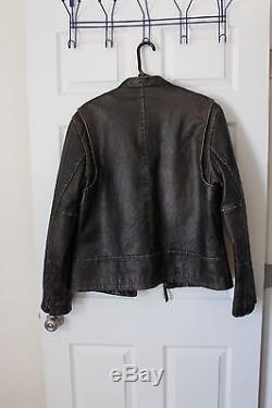 J. Crew Men's Leather Stockton Racing Jacket Dark Brown Large