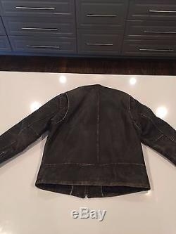 J. Crew Stockton Black Leather Cafe Racer Motorcycle Jacket, Size L, No Reserve