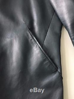 Jil Sander Men's Leather Zip Biker Jacket Navy Blue Large 50 $3895 Retail