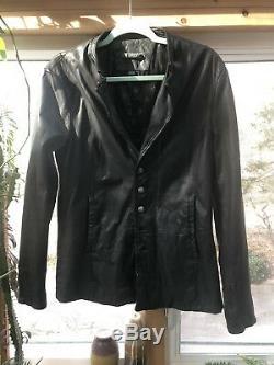 John Varvatos Collection Black Leather Moto Jacket size Euro 48 / US 40 Medium