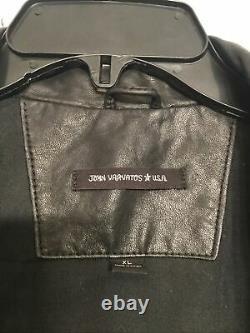 John Varvatos Mens Leather Moto Jacket Size XL Black (97)
