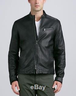 John Varvatos Star USA Black Leather Moto Jacket (Size Medium)