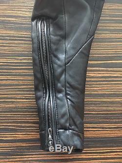 Julius 7 Mens Black Leather Zip Biker Motorcycle Jacket Size 2 Medium