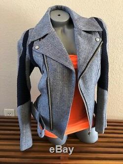Junya Watanabe Comme des Garcons Womens Black Wool Herringbone Moto Jacket -Sz M