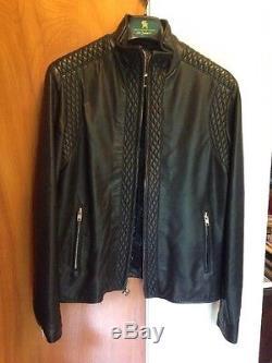 King Baby Studio Men's Black Leather Jacket Size Large Silver Zipper Excellent