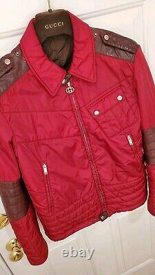 LNWOT$3K GUCCI Jacket-M-40US-Motorcycle Biker Cafe Racer + Puffer + LEATHER-RED