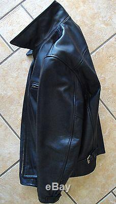 Lost Worlds Suburban Fqhh Black Horsehide Motorcycle Leather Jacket Size 44