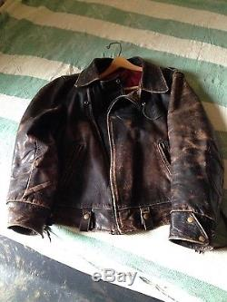 Leather Motorcycle Police Jacket Vintage