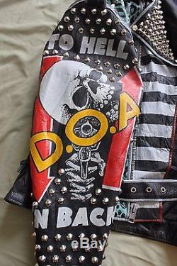 Leather Studded Punk Jacket Men's Medium / Large 44 Misfits DOA RKL Dr Know