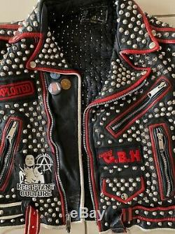 Leather Studded Punk Motor Cycle Jacket Patches Painted Exploited G. B. H. Size 42