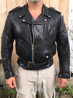 Leather winter biker jacket men's size 42