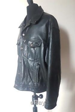 Levi's Trucker Vintage Leather Motorcycle Jacket Black XL Levis Western Buffalo