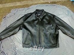 Lightly used SCHOTT NYC Cafe Racer Leather Motorcycle Jacket Sherpa lining