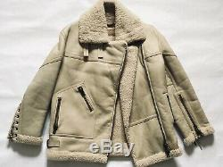 Loewe Campaign Biker Shearling Overcoat Jacket, Sz SM (Acne Velocite Style)
