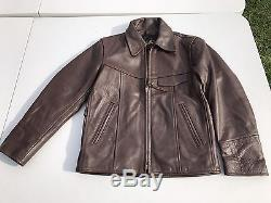 Lost Worlds Vintage Style Brown Heavy Leather Motorcycle Airplane Jacket M EUC