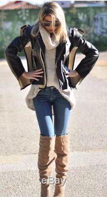 MAISON MARTIN MARGIELA For H&M Black Leather Moto Jacket Size 8 (38)