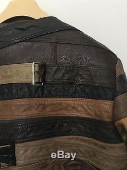 MAISON MARTIN MARGIELA For H&M RARE Brown Leather Belt Biker Jacket MEDIUM artis