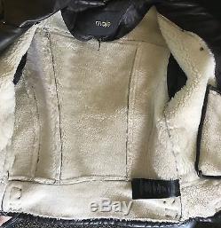 MAJE Dark Brown Shearling Lined Moto Biker Leather Jacket 36 2 XS