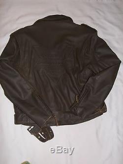 Mens Harley Davidson Brown Leather Jacket Size Large