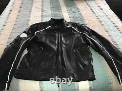 MEN'S Harley Davidson Willie G Skull Reflective Black Leather Riding Jacket XL