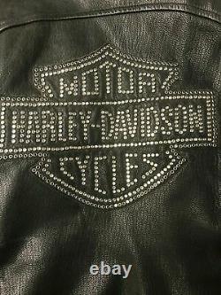 MINT Womens Black Leather Harley Davidson BLING Riding Jacket Medium