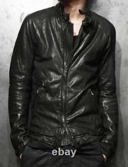 Ma JULIUS 7 lamb leather biker moto collar jacket sz2 eu46 sml slim fit Japan