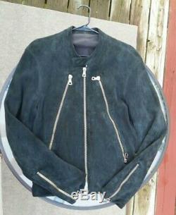 Maison Martin Margiela 5-Zip Suede Leather Jacket, Black, Mens IT52, AW2005