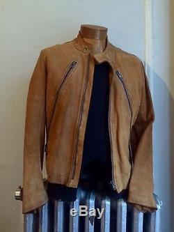 Men'sDesigner Maison Margiela Suede Calf Leather Jacket Camel Italy IT 48 / Med