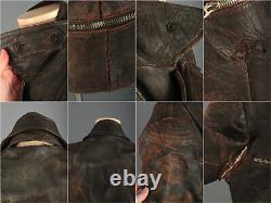 Men's 1930s 1940s German Brown Leather Motorcycle Jacket Small 30s 40s Vtg Biker