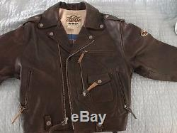 Men's Avirex Brown Leather Zip Front Motorcycle Jacket Sz S Used