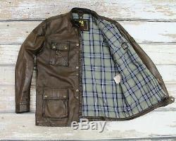 Men's BELSTAFF PANTHER 1966 LEATHER MOTORCYCLE Brown Whisky Jacket Coat Roadmast