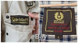 Men's Belstaff Biker Beige Motorcycle Cotton Belted Jacket Sz L