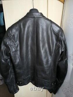 Men's Belstaff Supreme Antique Black Leather Motorcycle Biker Jacket Size M