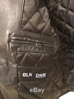 Men's Blk Dnm Leather Jacket 5 Black Size Xs S Small Rare Motorcycle Biker