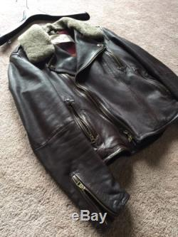 Men's Burberry Brit Brown Leather Jacket withShearling colllar, Size Small