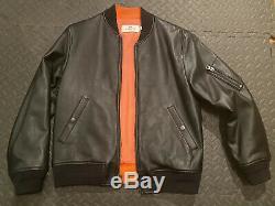 Men's Coach Black Leather Bomber Jacket MA-1 Size Medium M Motorcycle