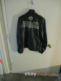 Men's Harley-Davidson Black Leather THROTTLE Motorcycle Biker Jacket Size LARGE